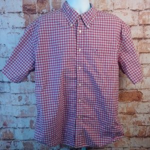 Tommy Hilfiger Red White Blue Plaid Cutton Front